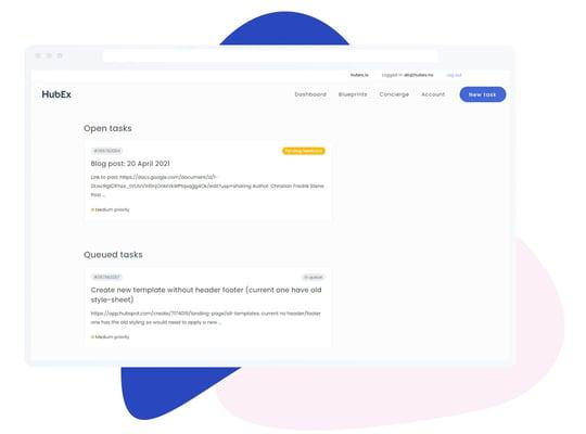 HubEx task dashboard
